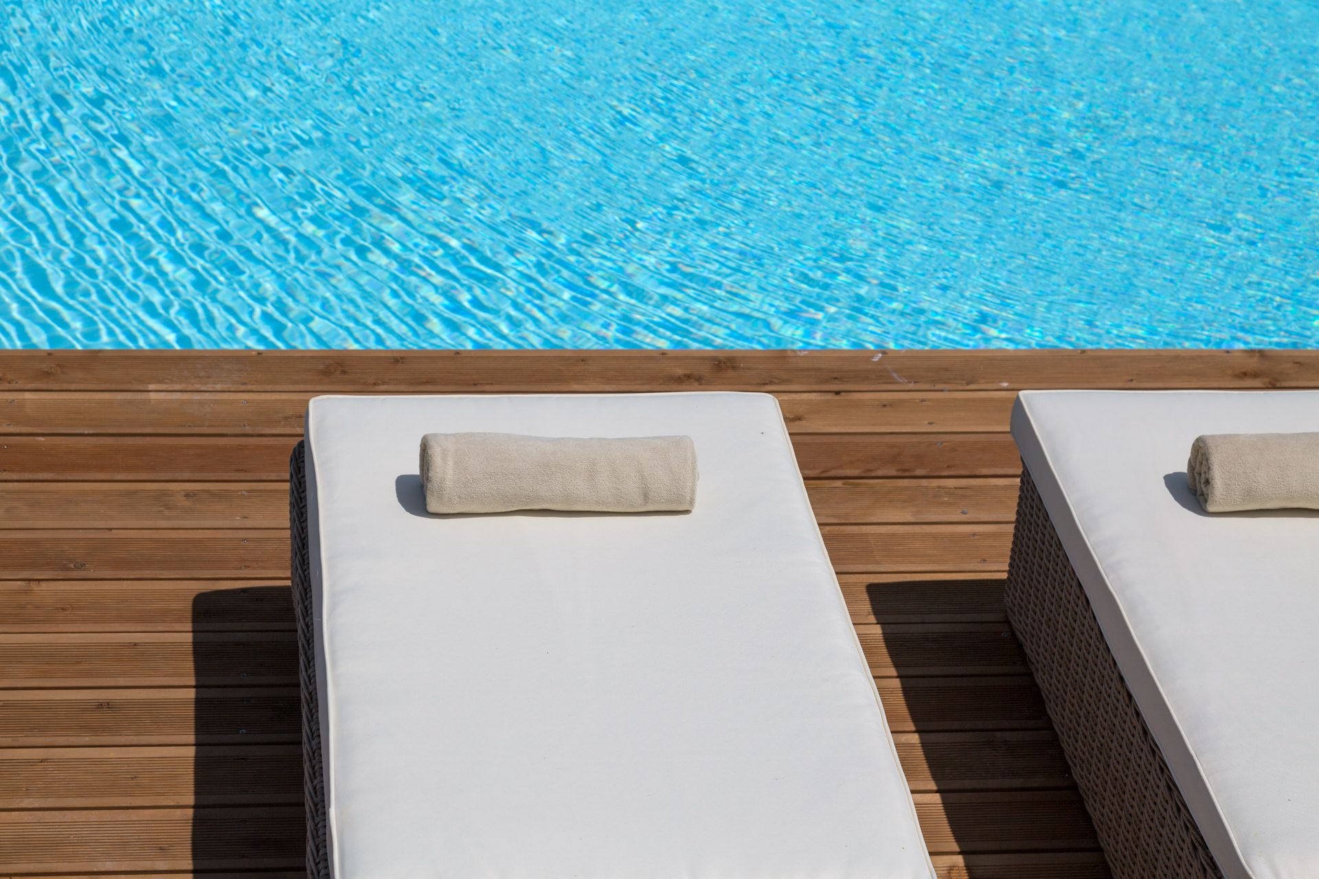 Private pool and luxury sunbeds