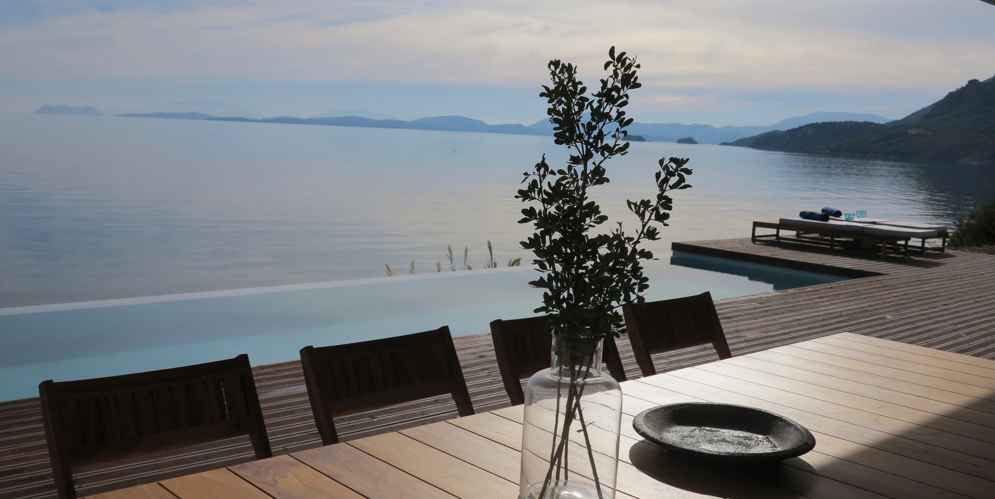 Outdoor dining and Ionian sea view