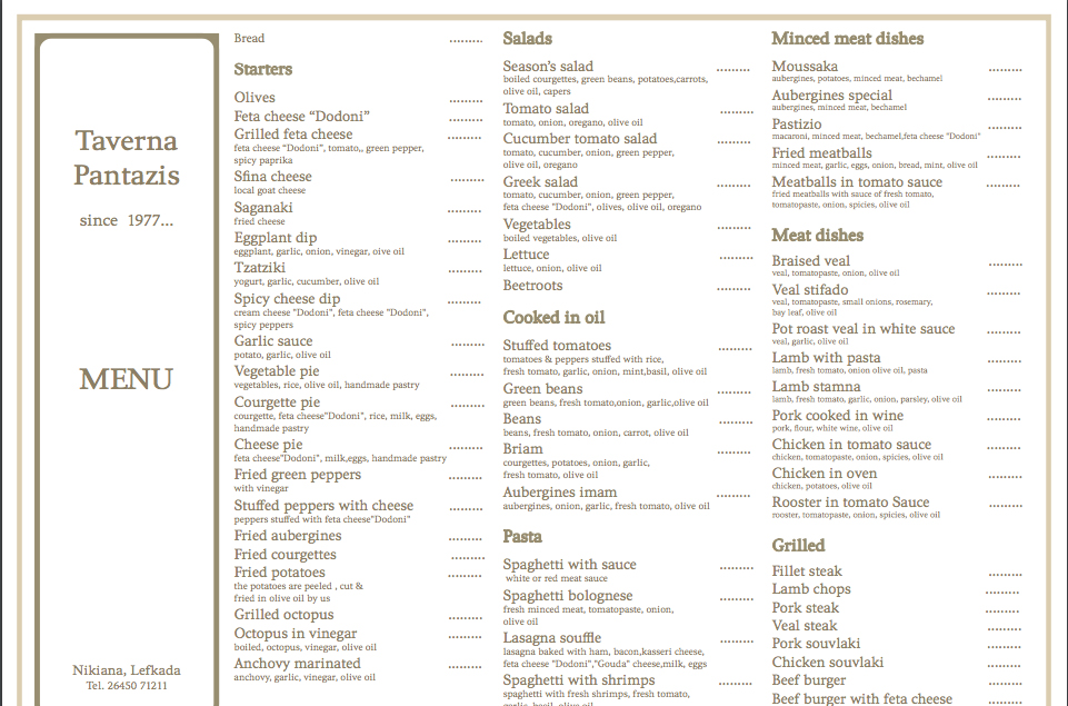 The menu - Pantazis Tavern