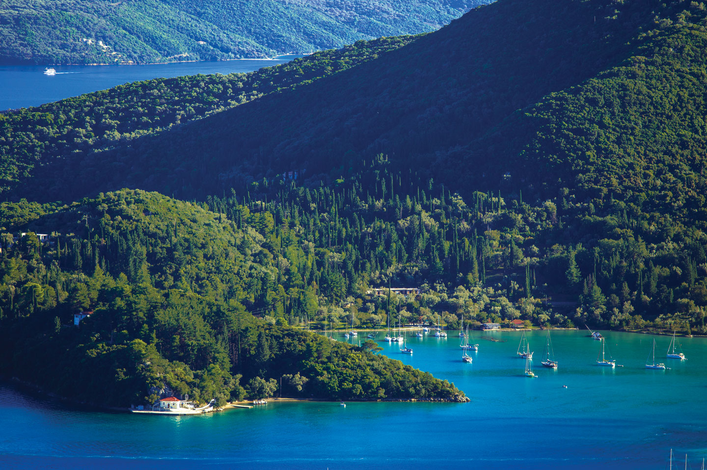A beautiful natural harbour in Lefkada, Greece