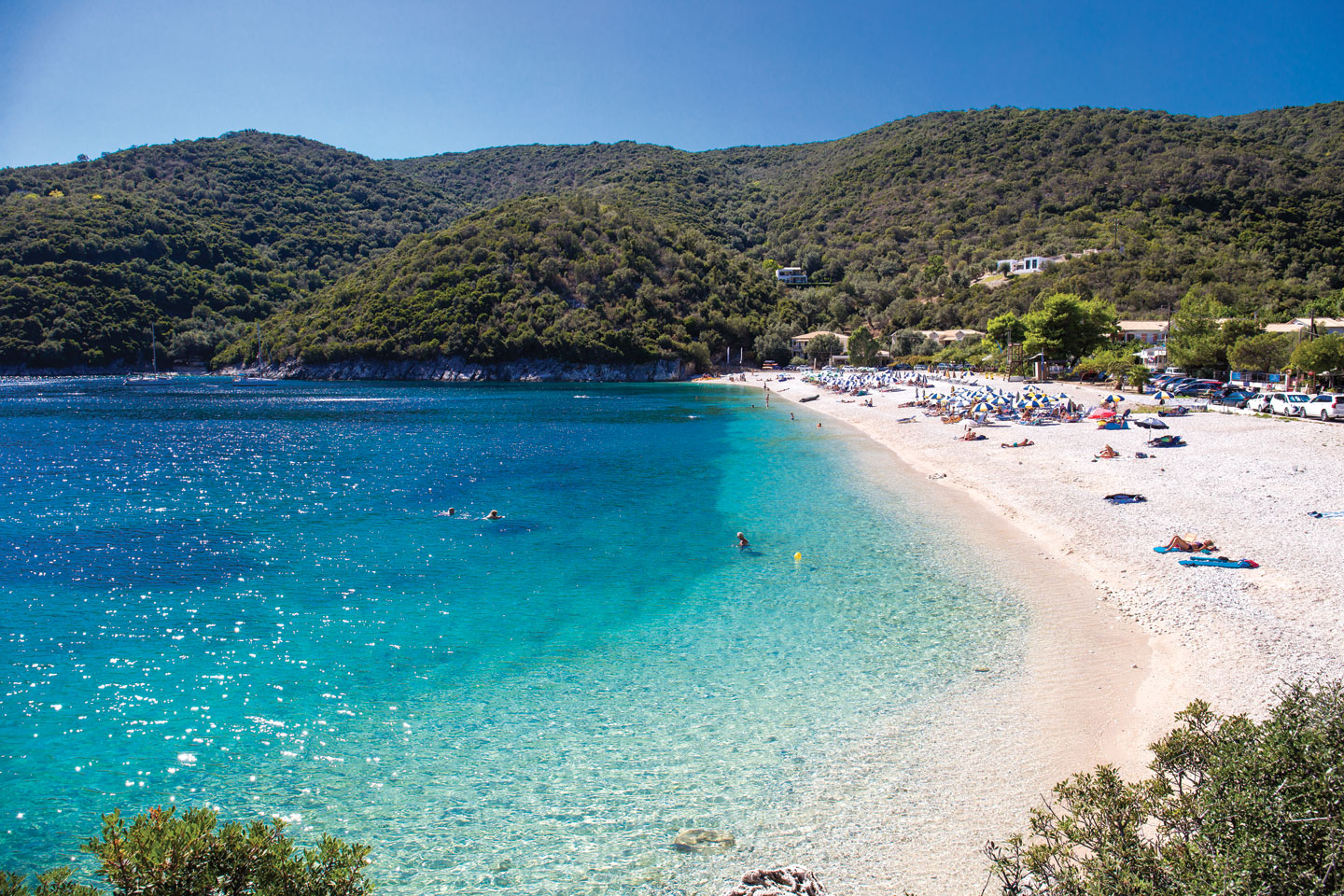 Mikros Gialos is a quiet beach with crystal clear waters in the east Lefkada
