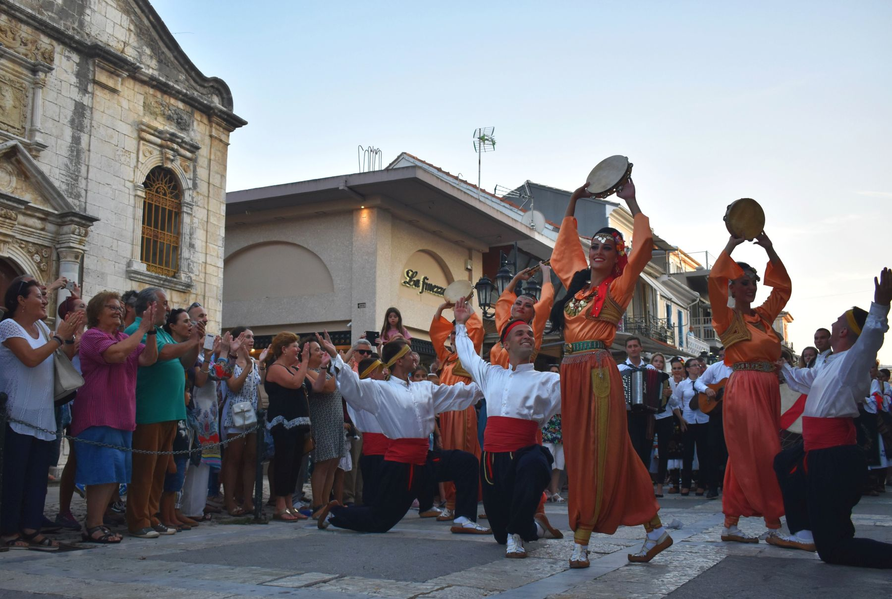 International Folklore Festival, dancing group in the streets of Lefkada