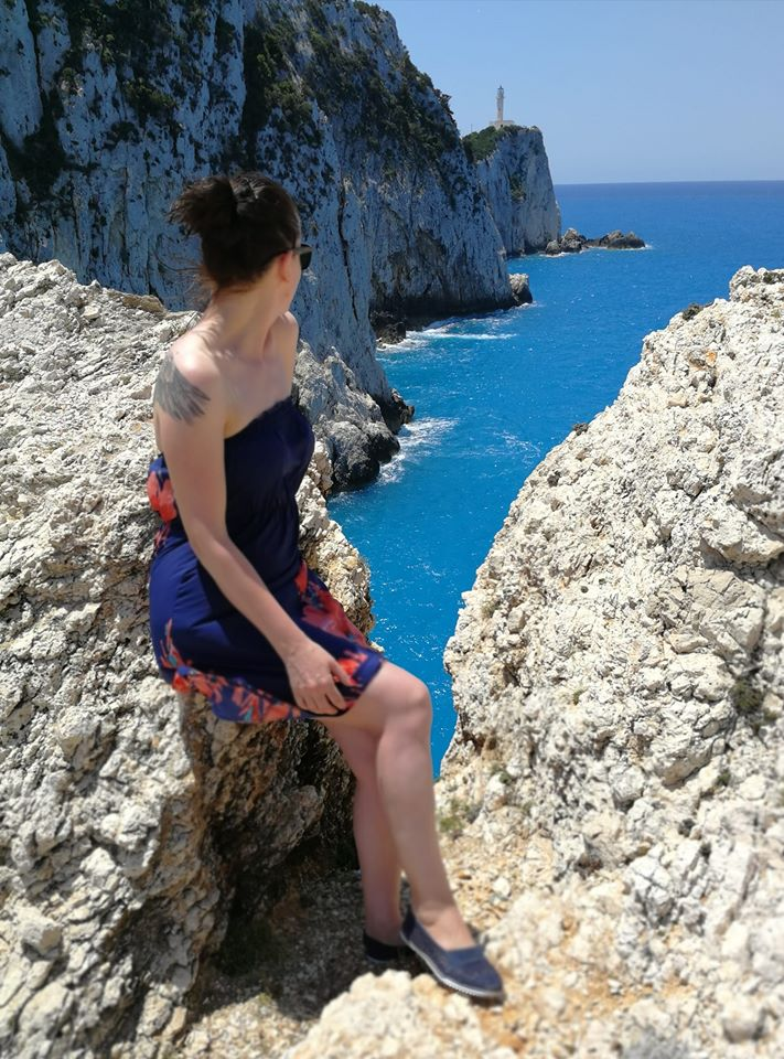 Girl at the Cape of Lefkatas | Lefkada Slow Guide